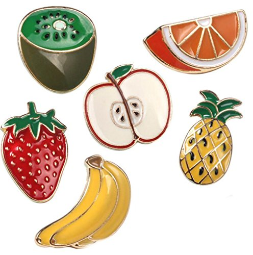 Pineapple Banana Strawberry Fruit T-shirt Scarf Badge Brooch and Pin Set for Women Children (6PIECE) Test