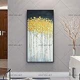CHASOE Big Size Günstige Reine Handgemachte Ölgemälde Auf Leinwand Abstrakte Gold Blau Landschaft Wandkunst Bild Für Wohnzimmer Wohnkultur 75X160 cm