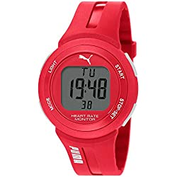 PUMA Pulse Plus Men's Quartz Watch with LCD Dial Digital Display and Red Plastic Strap PU911101004