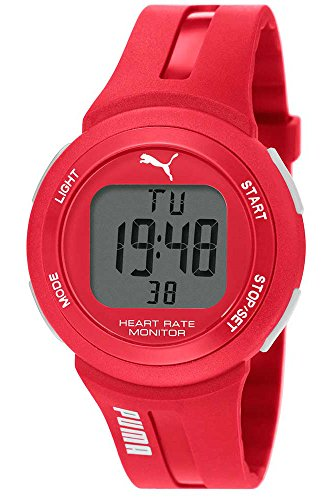 PUMA Pulse Plus Unisex Digital Watch with LCD Dial Digital Display and Red PU Strap PU911101004
