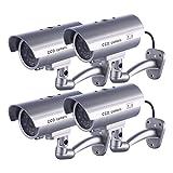 4 x Dummy Kamera IDAODAN Fake CCD-Überwachungskamera Wasserdichte Sicherheitskamera mit