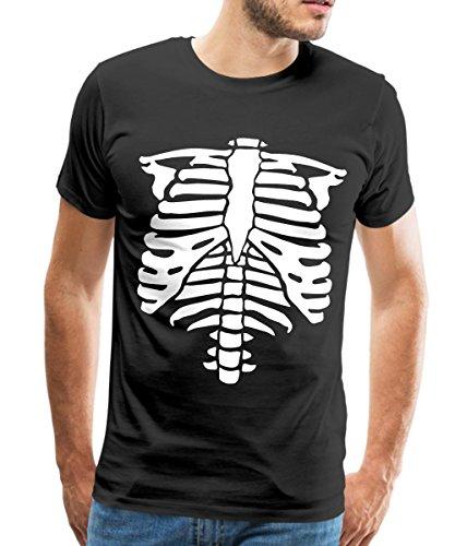 Brustkorb Rippen Thorax Männer T-Shirt, L, Schwarz (Frauen Anatomie Kostüm)