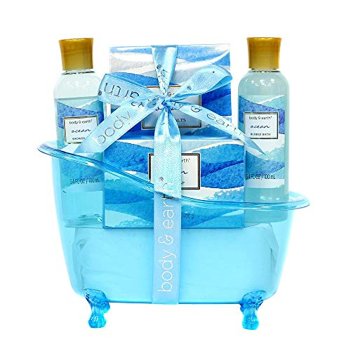 Spa Geschenkkörbe für Damen, Body & Earth Badeset 5-teilig Ocean Duft, Bade-Set mit Duschgel, Barseife, Bodylotion, Badesalz, beste Geschenkidee für Frauen
