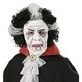 Antifaz látex drácula Máscara vampiro con pelo Mascarilla Halloween Accesorio disfraz noche de brujas Careta chupasangre Cubre rostro terror adulto