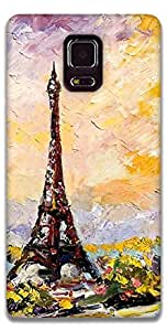 The Racoon Grip printed designer hard back mobile phone case cover for Samsung Galaxy Note 4. (eiffel tow)