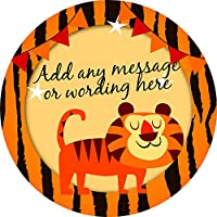 Indian Tiger Sticker Labels (48 Stickers, 4.5cm Each) Personalised Custom Seals Ideal for Party Bags Sweet Cones Favours Jars Presentations Gift Boxes Bottles Crafts