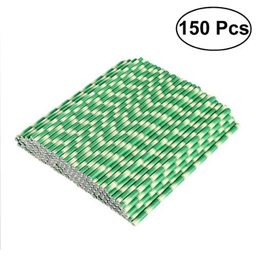 OUNONA 150pcs biologisch abbaubare Papier Strohhalme Bambus trinken Strohhalme für Party Getränke Dekoration -