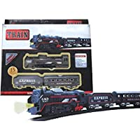 LittleBuddy Battery Operated Black Train Toy Set for Kids, Big Size Train Set for Kids | Bump and Go Musical Toy Train