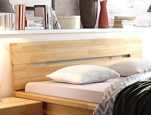 Massivholzbett Caspar + Nachttisch Kernbuche geölt Stauraumbett Holzbett Bett Nachtkonsole Nako Schlafzimmer, Liegefläche:140 x 200 cm;Set-Inhalt:Bett - 5