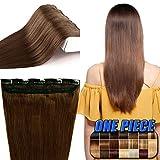 Echthaar Clip in Extensions günstig Haarverlängerung 1 Tessse 5 Clips Haarteile Echthaar Remy Human Hair 40cm-45g(#4 Schokobraun)