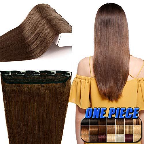 Extension fascia unica capelli veri clip 100% remy human hair extensions larga 25cm capelli naturali lisci lunghi 35cm con 5 clips 40g #4 marrone cioccolato