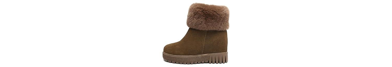 HSXZ - Botas de invierno para mujer, de goma, piel de nobuk, botas de nieve, botas, botas para el tobillo, estilo... -