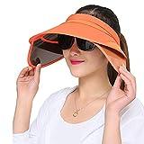 VORCOOL Sport Visor Cap Strohhut Unisex Kappe UV Schutz Einstellbar und Faltbar mit Breiter Krempe für Sommer Tennis Golf Radfahren Angeln Laufen Jogging (Orange)