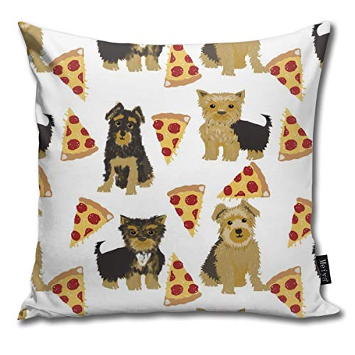Yorkie Pizza, Yorkshire Terriers Pizza Funny Cute Dog Novelty Food Print for Yorkie Owners Best Dogs for Home Dec Comfortable Soft Bed Pillow Case Household Pillow Case Office Bolster 18x18 Inches - Yorkie Dog Food