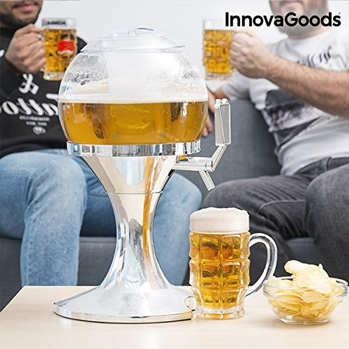 51T7rCvlLeL. SS500  - InnovaGoods Ball Beer Dispenser, PMMA, Silver, 24 x 24 x 42 cm