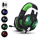 Gaming Headset,Aizbo® 3.5mm Over-Ear Headband Headphones LED Lighting Game Headset with Mic for PC Computer Game With Noise Cancelling & Volume Control (Green)