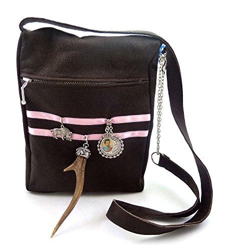 Trachtentasche Dirndltasche Trachten-Umhängetasche mit echtem Horn. Lammnappa-Leder. Antikbraun/Rosa.