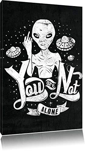 Dark You are not alone black Bild auf Leinwand, XXL riesige Bilder fertig gerahmt mit Keilrahmen, Kunstdruck auf Wandbild mit Rahmen, günstiger als Gemälde oder Ölbild, kein Poster oder Plakat, Format:80x60 cm (Home Alone Plakat)