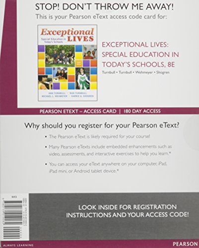 Exceptional Lives:Special Education in Today's Schools, Enhanced      Pearson eText -- Access Card