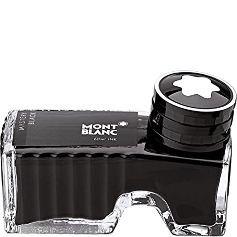 Montblanc Ink Bottle Mystery Black 105190 / Bottled Refill Ink in Black for Fountain Pens (Inchiostro Nero Disegno)