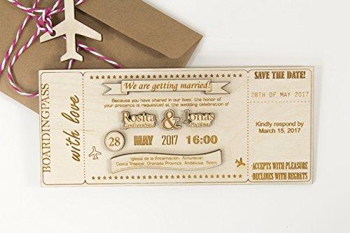 Hochzeitseinladungen 20 Stück – SAVE THE DATE Einladungen - gravierte Sperrholz Einladungen – individuelle hölzerne Einladungen – Ticket Einladungen