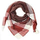 Distressed XXL Damen Oversized Schal Ÿbergro§er Deckenschal Karo Plaid Muster kariert Poncho - braun-rot