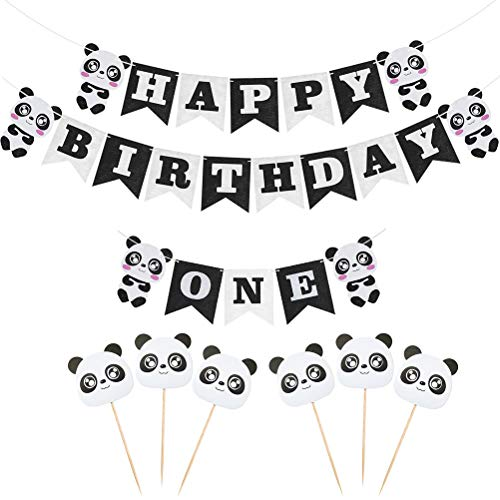 Amosfun 1. Geburtstag Dekoration Set Panda Thema Happy Birthday Banner Party Deko 8PCS