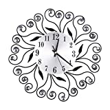 Reloj de Pared de Diamantes con Incrustaciones Flores, Reloj de Pared Diamante Peacock Relojes de Pared Grande Batería de Metal Decorativa Digital Sala de Estar/Cocina (Negro)