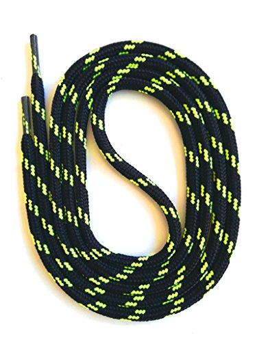 SNORS LACCI DI SICUREZZA NERO/NEON GIALLO 120 cm 47.2' ca. 5mm Stringhe per Scarpe Da Lavoro Da Trekking