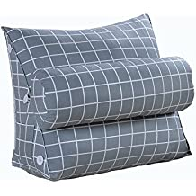 XIANGMING Cojines del sofá almohada de noche Estrellas Cojines grandes de la cama del triángulo Proteger la almohada de la cintura del cuello, Respaldo, Almohadas de la cama, Almohada de la cintura de la oficina, Almohada hogar / almohada lumbar, 60 * 22 * 50CM ( Color : Lattice )