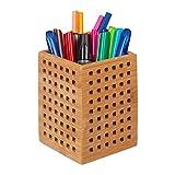 Relaxdays–Portabolígrafos (bambú, Utensilios Caja Madera, para, Tijeras, portalápices, Estilo rústico, HBT 11X9X 9Cm, Natural