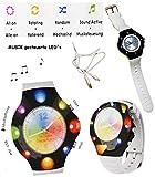 alles-meine.de GmbH Disco Watch - Armbanduhr mit LED - Licht _ incl. 4 extra Armbänder - blinkt auch im Rhythmus zur Musik - mit USB Anschluß & Kabel & Fun Lights App - wiederauf..