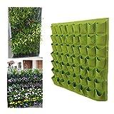 RC-Angel Vertikal Aufhängen Flower Vegetarier Kräuter Pflanzen Grow Bag Decor Wand-Pflanzgefäß Grün (56 Pocket)