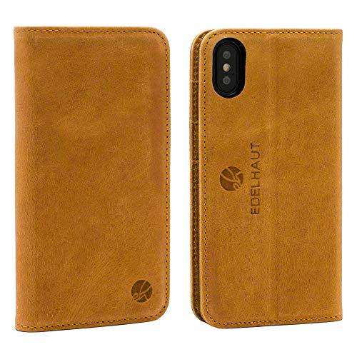 EDELHAUT Handytasche mit unsichtbarem Magnetverschluss in braun für Apple iPhone X und XS aus echtem Leder Leder Smartphone