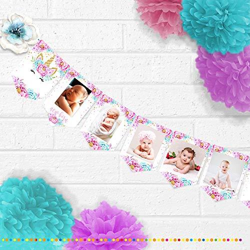 Sayala Baby Girl First Birthday Dekorationen, Neugeborene 1-12 Monate Einhorn Foto Seil Banner mit 30Count Einhorn hängende Strudel für einen Geburtstag Mädchen Dekorationen Party Supplies