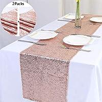 Tinyuet Chemin de Table Rose Gold , 2Pcs Coureur de Table Royal Brillant d'or Rose pour la Partie de Banquet de Mariage , Fête de Naissance , la Décoration D'anniversaire - 30x275cm