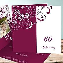 Einladung 60 Geburtstag Mann, Blütenkarte Mit Foto 60 15 Karten,  Quadratische Klappkarte 145x145 Inkl