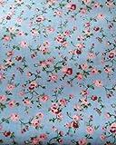 Polycotton-Stoff mit Vintage-Blumenmuster, Blau und Rosa