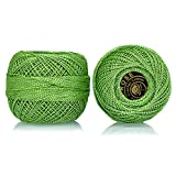 #10: Crochet Cotton Shiny Thread Size 20 for weaving, knitting and embroidery craft, 1 Ball, 200 Mtr of 100% cotton threads per roll, Factory made thread consistent in color and quality (Green)