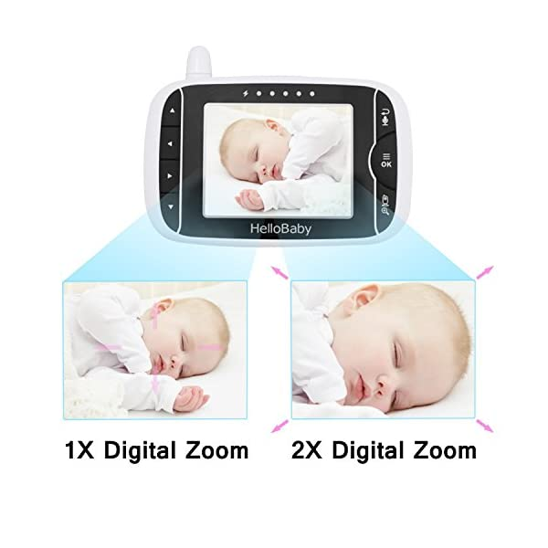 "HelloBaby Video Baby Monitor, 3.2"" Color LCD Screen with VOX Sound Activate Night Vision & Temperature Sensor, Two-Way Talkback System, White Camera (HB32) hellobaby 3.2 INCH LCD DISPLAY WITH ENHANCED 2.4GHZ TECHNOLOGY - The video baby monitor has a 3.2 Inch screen to show baby as you need , with 2.4GHz FHSS wireless transmission for 100% privacy and security.range up to 960ft without barriers. It is more convenient than IP camera. VOX FUNCTION - You do not have to pegged to the screen for long periods of time to avoid any unexpected omissions and no worries that babies will not be alerted during standby. Vox models can also save the battery power so as to length your use time. 8 LULLABIES PLAYING & NIGHT VISION FUNCTION - There are eight different soft lullabies to appease your baby when she is sleeping or waking up suddenly. Night vision camera allows you to clearly keep an eye on your baby's movements both day and night. 4"