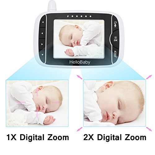 HelloBaby HB32 Wireless Video Babyphone mit Digitalkamera, Nachtsicht Temperaturüberwachung & 2 Way Talkback System,Weiß - 4