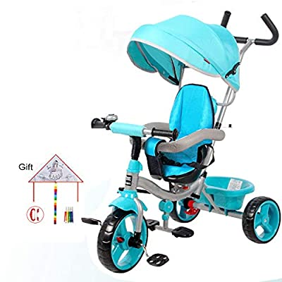 BGHKFF 4 In 1 Children's Hand Push Tricycle 10 Months To 6 Years 360° Swivelling Saddle Children's Pedal Tricycle Folding Sun Canopy Adjustable Handle Bar Child Trike Maximum Weight 25 Kg,Blue