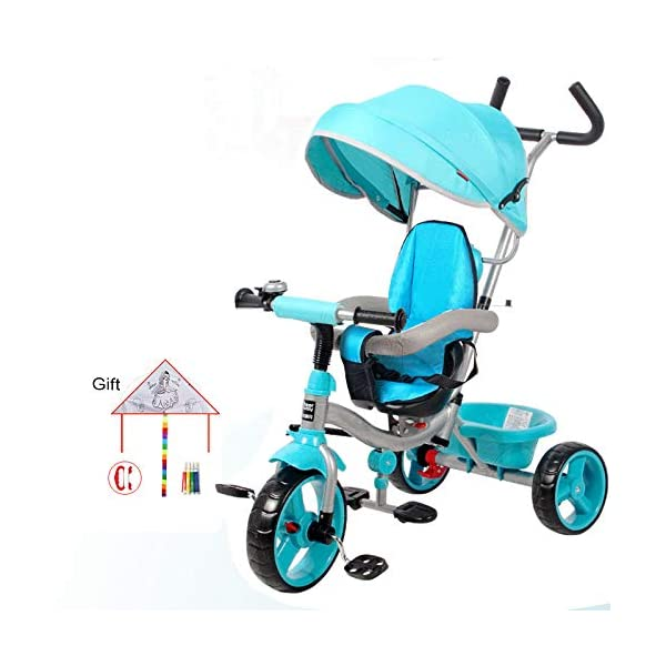 BGHKFF 4 In 1 Children's Hand Push Tricycle 10 Months To 6 Years 360° Swivelling Saddle Children's Pedal Tricycle Folding Sun Canopy Adjustable Handle Bar Child Trike Maximum Weight 25 Kg,Blue  ★Material: High carbon steel frame, suitable for children from 10 months to 6 years old, the maximum weight is 25 kg ★ 4 in 1 multi-function: can be converted into a stroller and a tricycle. Remove the hand putter and awning, and the guardrail as a tricycle. ★Safety design: golden triangle structure, safe and stable; front wheel clutch, will not hit the baby's foot; guardrail; rear wheel double brake 1