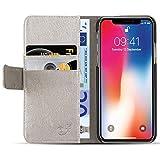 JammyLizarD Lederhülle für iPhone X/Xs | Ledertasche [ Classic Wallet Tasche Series ] Schimmer Leder Book Case Hülle Flip Cover Schutzhülle mit Kartenfach, Champagner