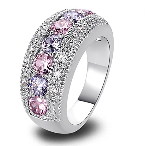 YAZILIND Band Pink White Topaz Crystal White Gold Plated Ring For Women Gift Size7