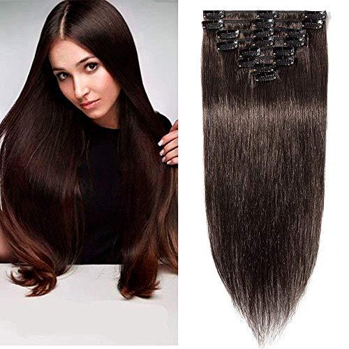 Clip in Extensions Echthaar günstig Haarverlängerung 8 Tressen 18 Clips Remy Human Hair 40cm-65g(#2 Dunkelbraun)