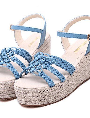 UWSZZ IL Sandali eleganti comfort Scarpe Donna-Sandali-Formale-Zeppe / Plateau / Aperta-Zeppa-Finta pelle-Blu / Bianco White