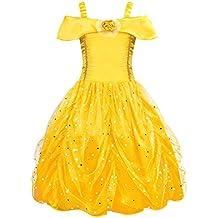 AmzBarley Disfraz de Princesa Belle Vestido de Fiesta Cosplay para niñas  68a2fdff3033