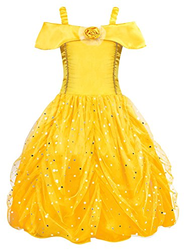 8c198886cd5d AmzBarley Princess Belle Costume Layered Dress for Kids Girls Halloween  Cosplay Birthday Holiday Party Fancy Dress