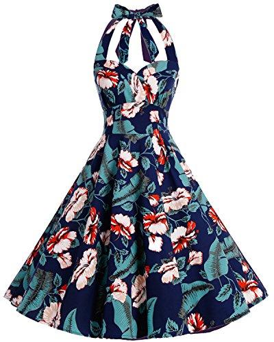 bbonlinedress Neckholder 50er Vintage Pinup Retro Rockabilly Kleid Cocktailkleider Green Flower XL